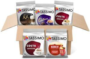 TASSIMO VARIETY BOX Pack T-Discs Pods Coffee Latte Cappuccino Americano Cadbury