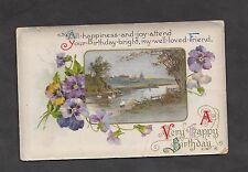 Posted 1913 Illustrated Birthday Card: River & Swans: Loved Friends