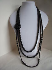 New 1920's Style Long Necklace of Black Glass Beads Diamante & a Black Rose