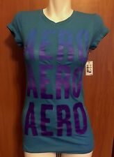 Aeropostale Women Girl Top Shirt  Blue Purple Logo Small S P Petite New NWT