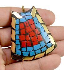 Brass Tibetan Jewelry Pendant Kbp524 Nepal Fashion Handmade Blue Turquoise