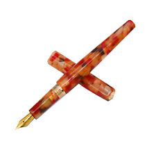 Fuliwen Celluloid Fountain Pen Iridium Gold Nib Rhombus Beautiful Orange Flower