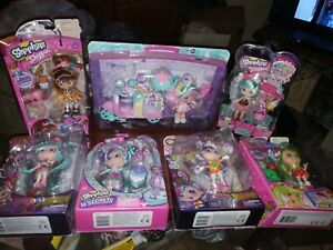 Lot of 7 Shopkins Shoppies Doll Sets Cocolette Peppa Mint etc.