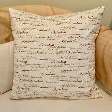 "18"" (45cm) Cream FRENCH COUNTRY SCRIPT Cushion Pillow Cover. Handmade Australia"