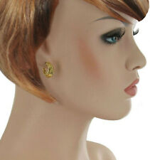 Gold Tone Leaf Earrings Pierced Small Huggie Hoop Yellow