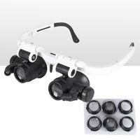Vergrößerungsbrille Lupenbrille mit LED Licht 10X 15X 25X Kopflupe Brille Lupe