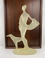 "Art Deco Woman w/Greyhound. Austin Production Sculptures 1986 17"" H x 12.75"""