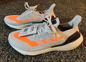 adidas men's Ultraboost 21 Grey / Orange Style # FY0375, Running Shoes US 9 NIB