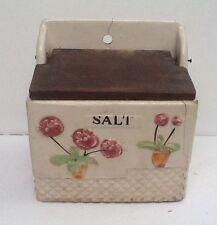 Vintage Floral Ceramic Saltbox With Wooden Cover Salt Box Japan