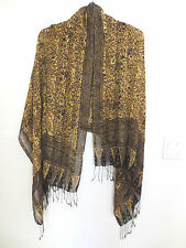 NEW from Indonesia Rayon, Gossamer Weight, Long Shawl or Scarf, Gold/Browns OS