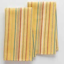 2 pk Food Network Yellow Waffle Stripe Kitchen Dish Towels 28x16 Cotton NWT