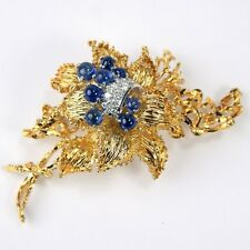 Floral Motif Sapphire & Diamond Pin Brooch 18 kt Yellow & White Gold #A5409