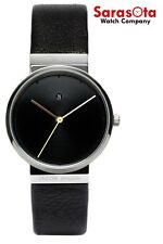 Jacob Jensen Dimension 852 Black Dial Steel Black Leather Quartz Women's Watch