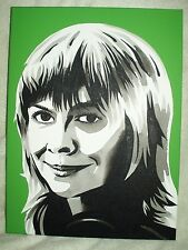 Canvas Painting Katy Manning Green B&W Art 16x12 inch Acrylic