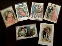 Lot of 5 Victorian Romance ~Romantic Greetings~Postcards ~Men~Women-c533