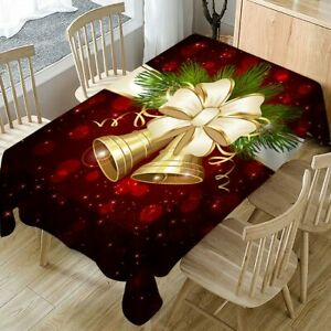 Christmas Decor Table Cloth and Chairs Cover Printed Rings Tablecloth Cover