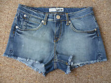 TOPSHOP UK10 W28 LADIES BLUE STRETCH DENIM HOT PANTS SHORTS GOOD CONDITION