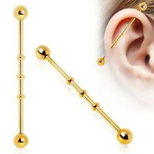 """Industrial Ribbed Gold Plate 14 Gauge 1-1/2"""" 5mm Balls Body Jewelry"""
