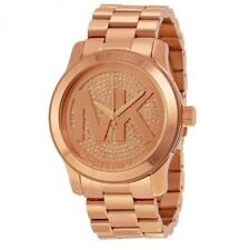 NEW MICHAEL KORS RUNWAY ROSE GOLD TONE,CRYSTAL PAVE,LOGO,OVERSIZED WATCH MK5661