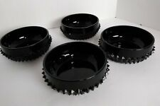 "TIARA Indiana Glass Cameo Black Diamond Point 5"" Bowls Set of 4 Individual Salad"