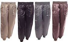 New Womens Ladies Satin Silky Low Rise Casual Trousers Stretch Shiny Pants Harem