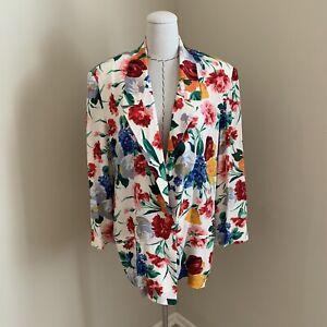 Vintage 80s Mary Ann Restivo Silk Floral Blazer Jacket Carrie Bradshaw sz 10
