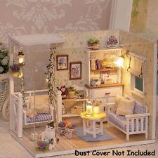 More details for 3d diy dollhouse miniature kit wooden doll house cottage led light kids gift uk