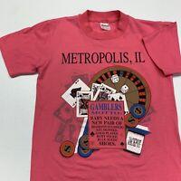 Vintage 90s Metropolis Illinois T Shirt Adult S Pink Casino Gambling Cards USA