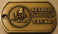 Seabee Construction Battalion / CB Navy Dog Tag Style Brass Challenge Coin