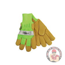 KINCO HI-VIS LINED GRAIN PIGSKIN LEATHER PALM WITH KNIT WRIST GLOVE, #1939KW-XL