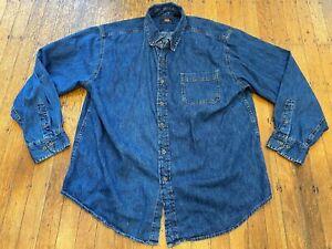 Route 66 100% Cotton Button Front Denim Shirt Men's Large Blue