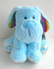 """Fun Bright Blue with Rainbow Ears Puppy Dog 20cm 8"""" Standing New Baby Safe Boy"""