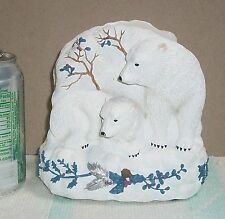 Stickered Pfaltzgraff Napkin Holder Winter Frost Mom & Cub Polar Bear