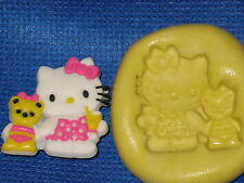 Hello Kitty With Friend Push Mold Flexible Resin Food Safe Silicone  #760 Cake