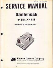 Wollensak Service Manual: Model P-815 Magazine Slide Projector - 1962