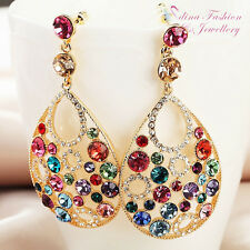 18K Gold Plated Made With Swarovski Element Large Teardrop Colourful Earrings