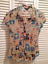 Anxiety Sheer Woman's Blouse Turquoise Print SS Button Down Fitted Size S