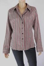 Jacqui E Career Striped Button Down Shirt Tops for Women