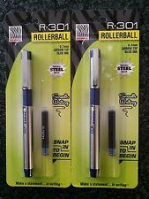 Lot of 2 New Zebra R-301 Stainless Steel RollerBall Pen BLUE Ink 0.7mm Arrow Tip