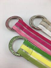 3 Belts EXPRESS Crystal Rhinestone Buckle Striped Belts Pink Green Silver