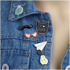 6pcs New Enamel Mustache Cat Collar Pins Badge Corsage Cartoon Brooch Jewelery
