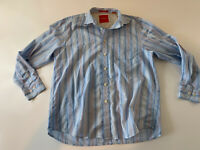 Tommy Bahama Long Sleeve Button Front Striped Shirt Men's Sz L Blue 100% Cotton