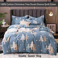 Christmas Cotton Blue Tree Doona Duvet Quilt Cover Set Double Queen King Bedding