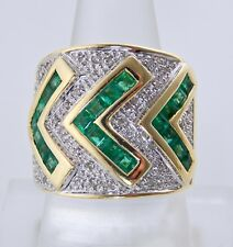14KT YELLOW GOLD COLOMBIAN GREEN EMERALD & DIAMOND RING/BAND SIZE 7.5 W-19mm