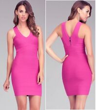 NWT bebe berry pink v neck zip back bandage sexy top skirt dress fits XS and XXS