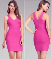NWT bebe berry pink v neck zip back bandage sexy top skirt dress size S small