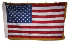 3x5 Embroidered Sewn USA American Gold Fringe Sleeve 300D Nylon Flag 3'x5'