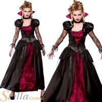 Ladies Wicked Vampire Queen Costume Halloween Womens Fancy Dress Outfit