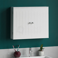 Priano Bathroom Wall Cabinet 2 Door White Vanity Cupboard Storage Mounted White