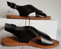 Women's Black Sarina Faux Leather Crossband Slide Sandals Size 6  &  7